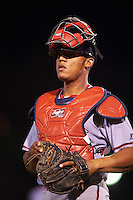 Syracuse Chiefs catcher Pedro Severino (4) during a game against the Rochester Red Wings on July 1, 2016 at Frontier Field in Rochester, New York.  Rochester defeated Syracuse 5-3.  (Mike Janes/Four Seam Images)