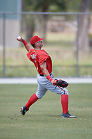 Washington Nationals Nick Banks (3) throws from the outfield during practice before a minor league Spring Training game against the St. Louis Cardinals on March 27, 2017 at the Roger Dean Stadium Complex in Jupiter, Florida.  (Mike Janes/Four Seam Images)