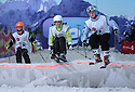 23/06/13 <br /> <br /> Isobel Brown (right) in action at England's first ever English Ski and Boarder Cross Championship at Manchester's indoor ski slope in The Chill Factor.<br /> <br /> Three local Sisters have been scooping up more medals as they continue to ski their way to success.<br /> <br /> Last Sunday (June 23) the, Rossignol sponsored, young athletes took on the country's best skiers at the first ever English Ski-Cross in Manchester with Isobel, 13, and Elektra, 9, coming away with gold and silver medals at the indoor contest held at The Chill Factore. Isobel, 13, won the Girls Youth class and Elektra, 9, came second in the Female Kids class.<br /> <br /> In May this year, Isobel also won silver at the first ever Moguls competition held at the same venue.<br /> <br /> The girls, from Ellastone, near Ashbourne, spent last winter training in The Alps with the French team they race for. <br /> <br /> Competing for their school's ski team, the Abbotsholme School trio, including Jemima, 11, won Bronze for at the Aiglon College Cup - an international inter-school competition held in Switzerland - only being beaten by two Swiss schools.<br /> <br /> There are more indoor competitions planned, but with the days getting shorter the girls are looking forward to heading out to the Alps again as soon as the snow falls this winter.<br /> <br /> All Rights Reserved - F Stop Press.  www.fstoppress.com. Tel: +44 (0)1335 300098<br /> Copyrighted Image.