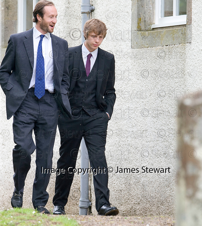 CODY TENNANT (RIGHT), GRAND SON OF LORD COLIN CHRISTOPHER PAGET GLENCONNER  ARRIVES AT TRAQUAIR KIRK, KIRKHOUSE, FOR THE MEMORIAL SERVICE