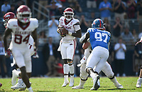 Arkansas quarterback KJ Jefferson (1) passes, Saturday, October 9, 2021 during the fourth quarter of a football game at Vaught Hemingway Stadium in Oxford, Miss. Check out nwaonline.com/211010Daily/ for today's photo gallery. <br /> (NWA Democrat-Gazette/Charlie Kaijo)