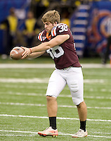 Michael Branthover of Virginia Tech warms up before Sugar Bowl game against Michigan at Mercedes-Benz SuperDome in New Orleans, Louisiana on January 3rd, 2012.  Michigan defeated Virginia Tech, 23-20 in first overtime.
