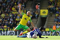 28th August 2021; Carrow Road, Norwich, Norfolk, England; Premier League football, Norwich versus Leicester; Daniel Amartey of Leicester City fouls Teemu Pukki of Norwich City