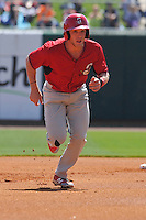 Springfield Cardinals Harrison Bader (33) runs to third base during the game against the Northwest Arkansas Naturals at Arvest Ballpark on May 4, 2016 in Springdale, Arkansas.  Springfield won 10-6.  (Dennis Hubbard/Four Seam Images)