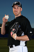 March 1, 2010:  Pitcher Shawn Hill (71) of the Toronto Blue Jays poses for a photo during media day at Englebert Complex in Dunedin, FL.  Photo By Mike Janes/Four Seam Images