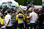 Yellow Jersey Egan Bernal (COL) Team Ineos with media at sign on before the start of Stage 21 of the 2019 Tour de France running 128km from Rambouillet to Paris Champs-Elysees, France. 28th July 2019.<br /> Picture: ASO/Alex Broadway   Cyclefile<br /> All photos usage must carry mandatory copyright credit (© Cyclefile   ASO/Alex Broadway)