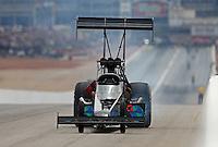 Mar 29, 2014; Las Vegas, NV, USA; NHRA top fuel driver Scott Palmer during qualifying for the Summitracing.com Nationals at The Strip at Las Vegas Motor Speedway. Mandatory Credit: Mark J. Rebilas-