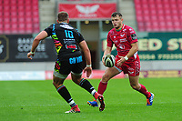 Steffan Hughes of Scarlets in action during the Guinness Pro14 Round 02 match between the Scarlets and Zebre Rugby at the Parc Y Scarlets Stadium in Llanelli, Wales, UK. Saturday 12 October 2019