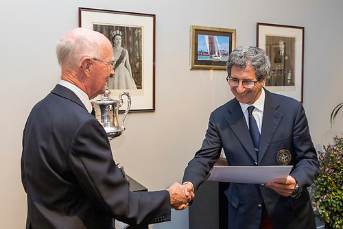 John Taylor - RUYC handing over letter of congratulations from HRH Duke of Gloucester, Commodore RUYC to Agostino Randazzo - Commodore Circolo Della Vella Sicilia YC in Sicily