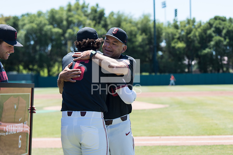 STANFORD, CA - MAY 29: Zach Sehgal, David Esquer before a game between Oregon State University and Stanford Baseball at Sunken Diamond on May 29, 2021 in Stanford, California.