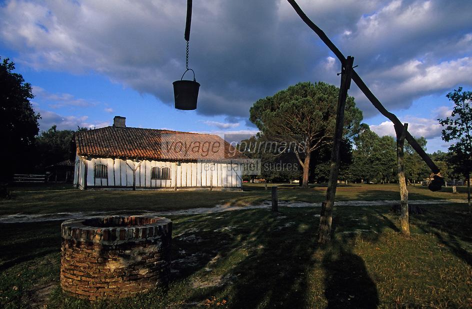 """Europe/France/Aquitaine/40/Landes/Parc Naturel Régional des Landes de Gascogne/Marquèze (écomusée de la Grande Lande): Maison de maître dite """"Le Mineur"""" et puit à balancier"""