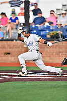 Pulaski Yankees second baseman Ezequiel Duran (26) swings at a pitch during a game against the Johnson City Cardinals at TVA Credit Union Ballpark on July 7, 2018 in Johnson City, Tennessee. The Cardinals defeated the Yankees 7-3. (Tony Farlow/Four Seam Images)