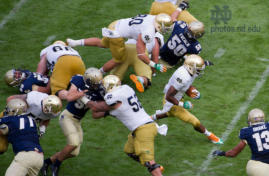 Sept. 1, 2012; Game action during the third quarter of the  2012 Emerald Isle Classic against Navy at Aviva Stadium in Dublin, Ireland. Photo by Barbara Johnston/University of Notre Dame