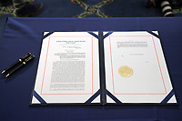 H.R. 24, an article of impeachment against President Donald Trump, is seen prior to an engrossment ceremony on Wednesday, January 13, 2021 at the U.S. Capitol.<br /> Credit: Greg Nash / Pool via CNP /MediaPunch