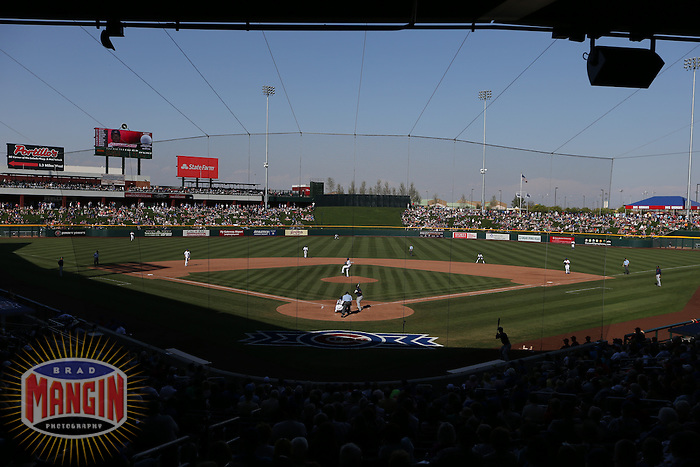 MESA, AZ - MARCH 7:  General overall scenic interior view of the ballpark during a spring training game between the Cleveland Indians and Chicago Cubs at Cubs Park in Mesa, Arizona on March 7, 2014. Photo by Brad Mangin