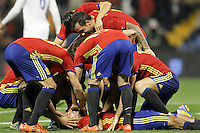Spain's players celebrate goal with Mario Gaspar during international friendly match. November 13,2015.(ALTERPHOTOS/Acero)