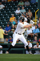 Bradenton Marauders second baseman Erich Weiss (6) at bat during a game against the St. Lucie Mets on April 11, 2015 at McKechnie Field in Bradenton, Florida.  St. Lucie defeated Bradenton 3-2.  (Mike Janes/Four Seam Images)
