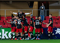 WASHINGTON, DC - APRIL 17: Russell Canouse #6 of D.C. United celebrates his goal with teammates and fans during a game between New York City FC and D.C. United at Audi Field on April 17, 2021 in Washington, DC.