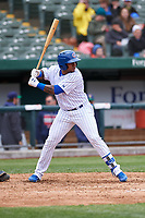 South Bend Cubs Nelson Velazquez (13) at bat during a Midwest League game against the Cedar Rapids Kernels at Four Winds Field on May 8, 2019 in South Bend, Indiana. South Bend defeated Cedar Rapids 2-1. (Zachary Lucy/Four Seam Images)