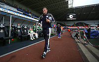 Jamie Vardy of Leicester City arrives before the Barclays Premier League match between Swansea City and Leicester City played at The Liberty Stadium on 5th December 2015