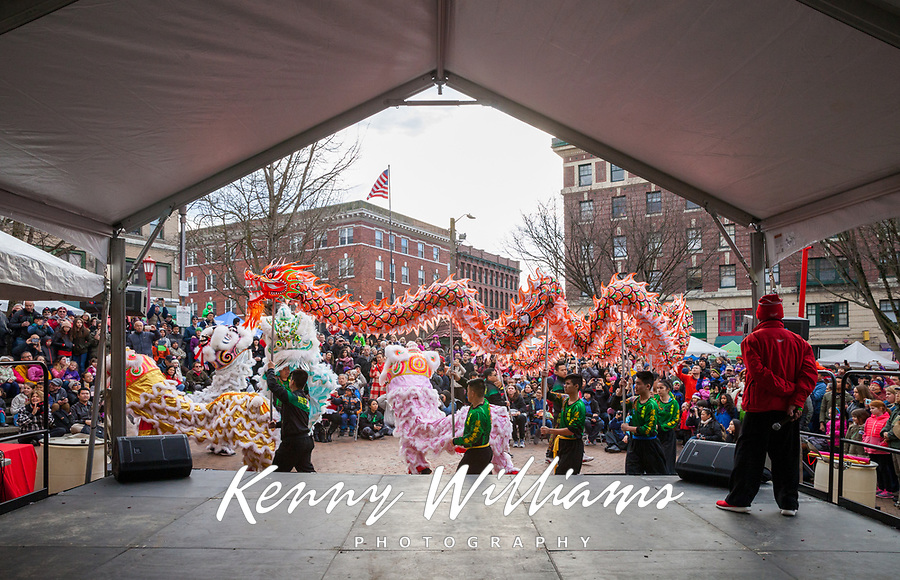 Dragon and Lion Dance, Chinese Lunar New Year, Chinatown, Seattle, WA, USA.