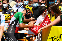 10th July 2021; Carcassonne, France;  COLBRELLI Sonny (ITA) of BAHRAIN VICTORIOUS during stage 14 of the 108th edition of the 2021 Tour de France cycling race, a stage of 183,7 kms between Carcassonne and Quillan.
