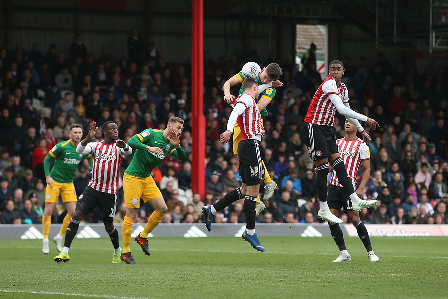 Preston North End's Jordan Storey with a header towards goal<br /> <br /> Photographer Rob Newell/CameraSport<br /> <br /> The EFL Sky Bet Championship - Brentford v Preston North End - Sunday 5th May 2019 - Griffin Park - Brentford<br /> <br /> World Copyright © 2019 CameraSport. All rights reserved. 43 Linden Ave. Countesthorpe. Leicester. England. LE8 5PG - Tel: +44 (0) 116 277 4147 - admin@camerasport.com - www.camerasport.com
