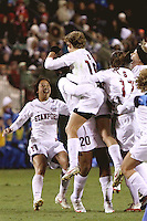 COLLEGE STATION, TX - DECEMBER 4:  Rachel Quon and Kelley O'Hara of the Stanford Cardinal during Stanford's 2-1 (OT) win over the UCLA Bruins in the NCAA Women's Soccer Championships semi-finals on December 4, 2009 in College Station, Texas.