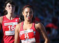 2014 July 19th<br /> Pictured: Mica Moore<br /> RE: Welsh sprinter Mica Moore after winning the 100m A final at the Cardiff International Sports Stadium competing in the Welsh Athletics International. Team mate in foreground blows her a kiss.