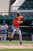 Baltimore Orioles Josh Stowers (61) bats during a Minor League Spring Training game against the Detroit Tigers on April 14, 2021 at Joker Marchant Stadium in Lakeland, Florida.  (Mike Janes/Four Seam Images)