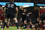 All Blacks scrum half Aaron Smith whips the ball away from the breakdown.<br /> Dove men Series 2014<br /> Wales v New Zealand<br /> 22.11.14<br /> ©Steve Pope -SPORTINGWALES
