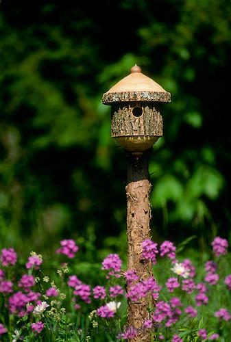 Lovely handmade lathe-turned birdhouse from log sits in garden among purple Dames rocket