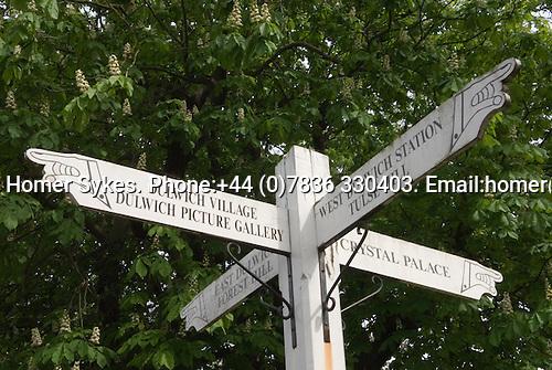 Dulwich Village, South London SE21 London UK 2008. Village sign post