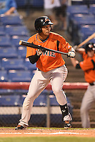 Bowie Baysox outfielder Garabez Rosa (2) squares to bunt during a game against the Binghamton Mets on August 3, 2014 at NYSEG Stadium in Binghamton, New York.  Bowie defeated Binghamton 8-2.  (Mike Janes/Four Seam Images)