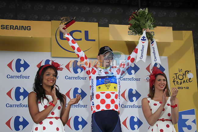 Michael Morkov (DEN) Team Saxo Bank-Tinkoff Bank takes the mountains Polka Dot Jersey at the end of Stage 1 of the 99th edition of the Tour de France, running 198km from Liege to Seraing, Belgium. 1st July 2012.<br /> (Photo by Eoin Clarke/NEWSFILE)