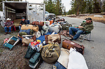 Camp gear for the fishing trip into the John Muir Wilderness, Sierra National Forest, on the western slope of the Sierra Nevada, California