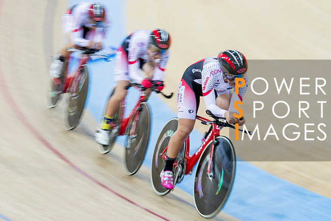 The team of Japan with Minami Uwano, Yuya Hashimoto, Kisato Nakamura and Nao Suzuki compete in the Women's Team Pursuit - Qualifying as part of the 2017 UCI Track Cycling World Championships on 12 April 2017, in Hong Kong Velodrome, Hong Kong, China. Photo by Chris Wong / Power Sport Images