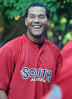 All-star Chris Dominguez of the Augusta GreenJackets laughs at the 2010 South Atlantic League All-Star Game welcome party and festivities Monday night June 21, 2010, at the Wyche Pavilion along the Reedy River in Greenville, S.C. Photo by: Tom Priddy/Four Seam Images