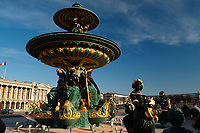 The Fountain of River Commerce and Navigation, one of the two Fontaines de la Concorde (1840) on the Place de la Concorde, Paris, capital of France. Both fountains had the same form: a stone basin; six figures of tritons or naiads holding fish spouting water; six seated allegorical figures, their feet on the prows of ships, supporting the pedestal, of the circular vasque; four statues of different forms of genius in arts or crafts supporting the upper inverted upper vasque; whose water shot up and then cascaded down to the lower vasque and then the basin.