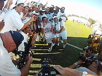 Players of the University of Akron pose with the trophy after the 2010 College Cup final against the University of Louisville at Harder Stadium, on December 12 2010, in Santa Barbara, California. Akron champions, 1-0.
