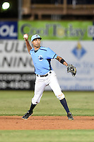 Charlotte Stone Crabs shortstop Leonardo Reginatto (16) throws to first during a game against the Palm Beach Cardinals on April 12, 2014 at Charlotte Sports Park in Port Charlotte, Florida.  Palm Beach defeated Charlotte 6-2.  (Mike Janes/Four Seam Images)