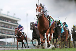 November 2, 2018: Bulletin #5, ridden by Javier Castellano, wins the Juvenile Turf Sprint on Breeders' Cup World Championship Friday at Churchill Downs on November 2, 2018 in Louisville, Kentucky.Alex Evers/Eclipse Sportswire/CSM