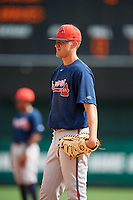 Atlanta Braves Drew Lugbauer (82) during a Florida Instructional League game against the Canadian Junior National Team on October 9, 2018 at the ESPN Wide World of Sports Complex in Orlando, Florida.  (Mike Janes/Four Seam Images)