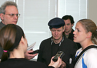 Cat Whitehill at a news conference after practice during Washington Freedom  practice and media event at the Maryland Soccerplex on March 25 in Boyd's, Maryland.