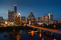 Austin, TX Cityscape with Congress Ave bridge and nice blue sky color during twilight.