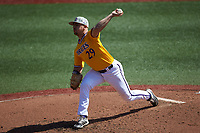 East Carolina Pirates starting pitcher Jake Kuchmaner (29) in action against the Charlotte 49ers at Hayes Stadium on March 8, 2020 in Charlotte, North Carolina. The Pirates defeated the 49ers 4-1. (Brian Westerholt/Four Seam Images)