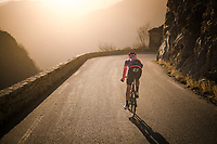 riders rolling the Col de Turini back down (in gorgeous evening light) after the stage towards the teambuses in the valley  <br /> <br /> Stage 7: Nice to Col de Turini (181km)<br /> 77th Paris - Nice 2019 (2.UWT)<br /> <br /> ©kramon