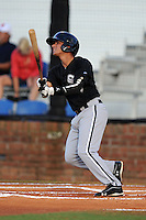 Bristol White Sox second baseman Victor Velazquez #5 swings at a pitch during a game against the Johnson City Cardinals at Howard Johnson Field on August 19, 2013 in Johnson City, Tennessee. The White Sox won the game 5-4. (Tony Farlow/Four Seam Images)