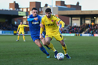 Ched Evans of Fleetwood Town and Anthony Hartigan of AFC Wimbledon during AFC Wimbledon vs Fleetwood Town, Sky Bet EFL League 1 Football at the Cherry Red Records Stadium on 8th February 2020