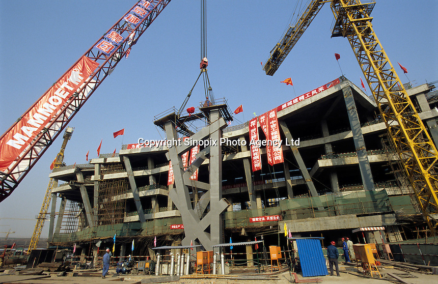 The building site of the National Stadium for the 2008 Olympic Games, dubbed the ?Bird's Nest,? in Beijing, China..16 Nov 2005